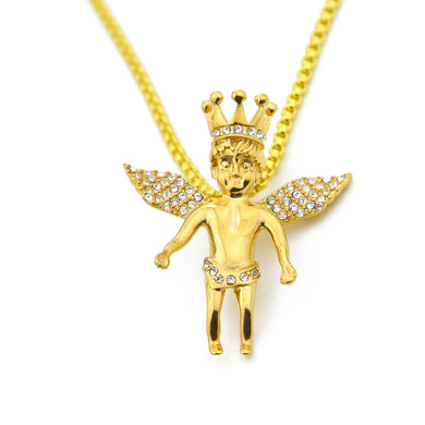 Gold Iced Out Crown Angel Baby Pendants