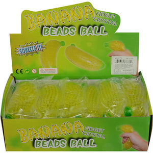 Wholesale 6in Squeeze Banana with Beads Inside (12 pcs)