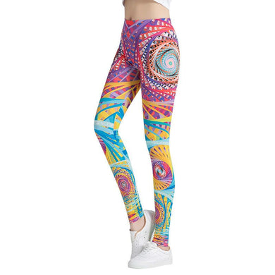 Colorful Painting Fashion Leggings - Pink