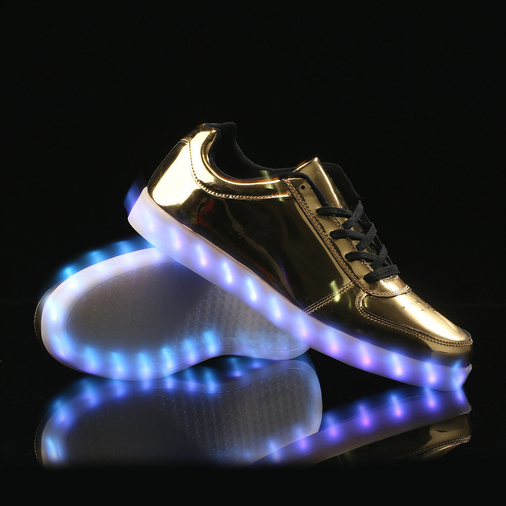 Low Top Led Shoes - Gold
