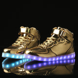 Remote Control High Top Led Shoes - Gold