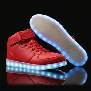High Top Led Shoes - Red