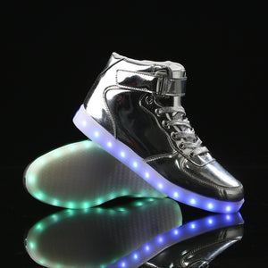 Remote Control High Top Led Shoes - Silver