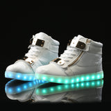 Zipper High Top Led Shoes - White