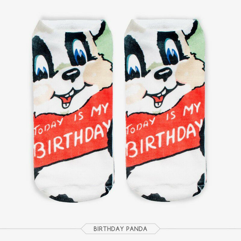 Unisex 3D Birthday Panda Printed Socks - 6 Pack