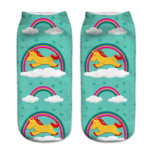 Unisex 3D Blue Unicorn Printed Socks - 6 Pack
