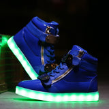 Zipper High Top Led Shoes - Blue
