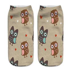 Unisex 3D Brown Owl Printed Socks