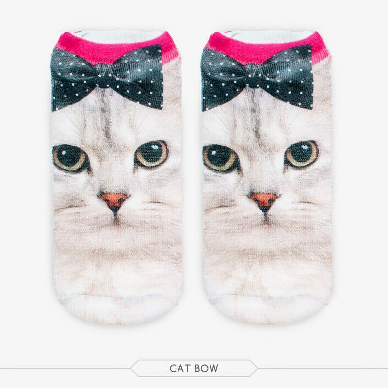 Unisex 3D Cat Bow Printed Socks - 6 Pack