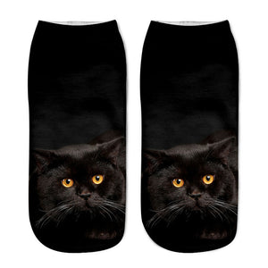 Unisex 3D Black Cat Printed Socks - 6 Pack