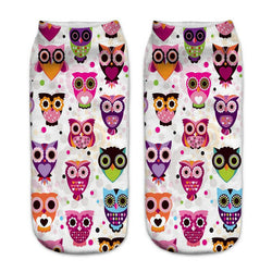 Unisex 3D Colorful Owl Printed Socks