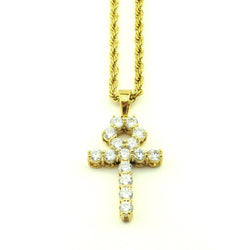 18K Micro Diamond Ankh Necklace