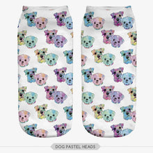 Unisex 3D Dog Pastel Heads Printed Socks - 6 Pack