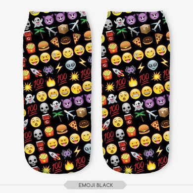 Unisex 3D Emoji Black Printed Socks - 6 Pack