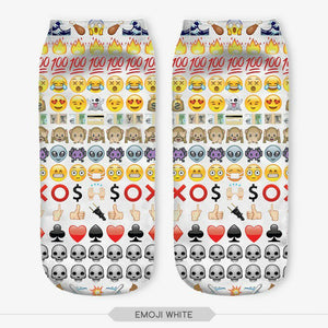 Unisex 3D Emoji White Printed Socks - 6 Pack