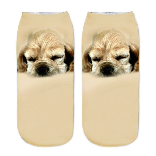 Unisex 3D Gold Hair Dog Printed Socks - 6 Pack