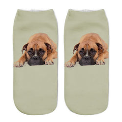 Unisex 3D Gray Dog Printed Socks