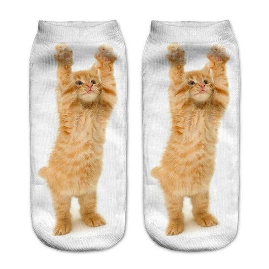 Unisex 3D Hands Up Kitty Printed Socks - 6 Pack