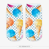 Unisex 3D Ice Cream Dots Printed Socks - 6 Pack