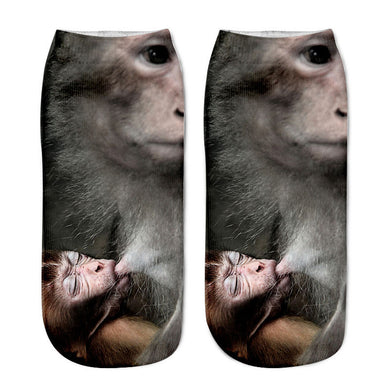 Unisex 3D Monkey Printed Socks - 6 Pack
