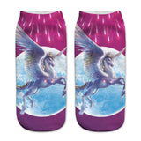Unisex 3D Purple Unicorn Printed Socks