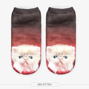 Unisex 3D Red Kitten Printed Socks - 6 Pack