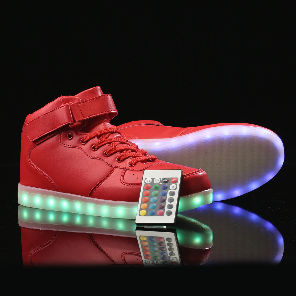 Remote Control High Top Led Shoes - Red