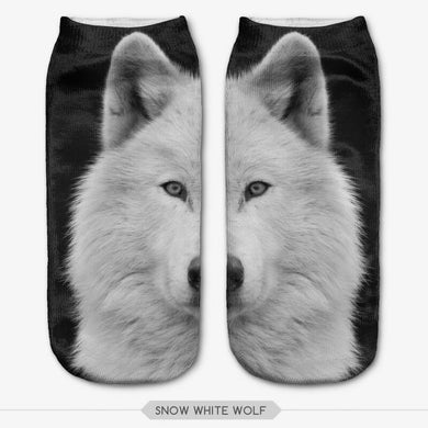 Unisex 3D Snow White Wolf Printed Socks - 6 Pack