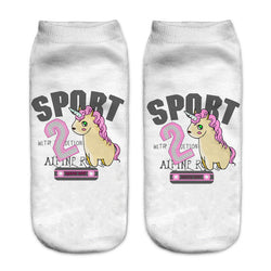 Unisex 3D Sport Unicorn Printed Socks