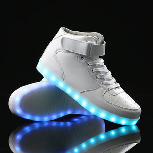High Top Led Shoes - White