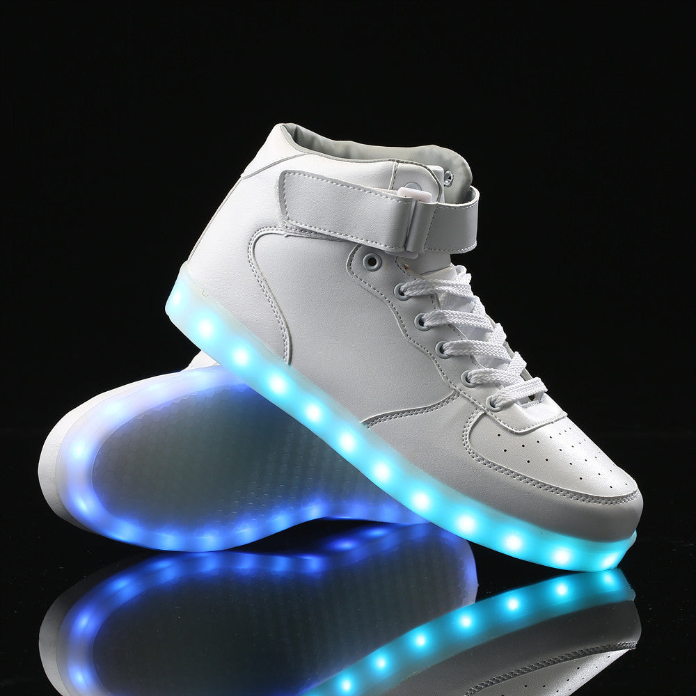 Remote Control High Top Led Shoes - White