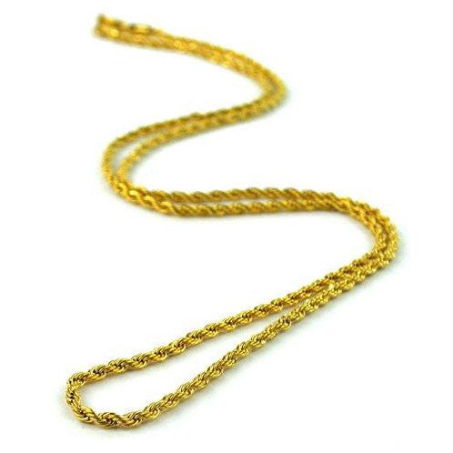 PVD Plated 18K Gold Rope Chain