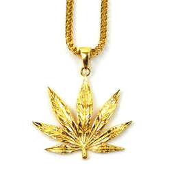 18K Gold Weed Leaf Piece