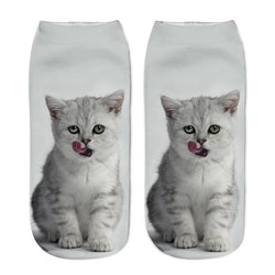 Unisex 3D White Cat Printed Socks
