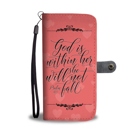 God Is Within Her - Christian Wallet Phone Case