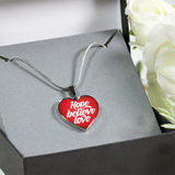 Hope Believe Love - Luxury Heart Christian Necklace