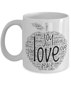 Christian Fruit of the Spirit Word Cloud - Christian Coffee Mug