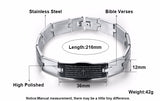 Christian Lord's Prayer Stainless Steel Bracelet for Men (English & Spanish Versions)