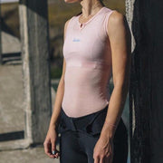 100% Merino Women Sleeveless Baselayer Pink - Maats