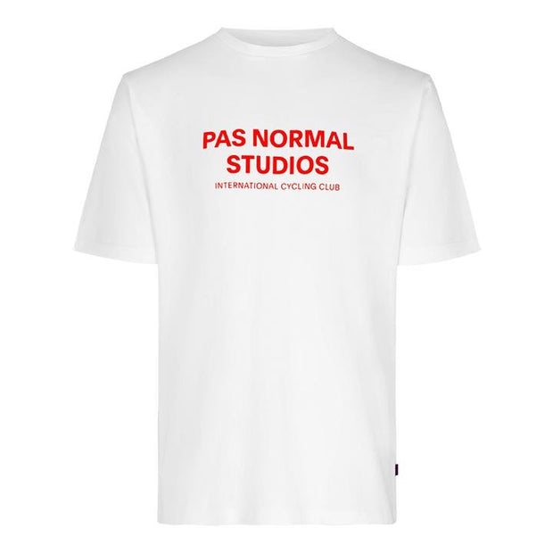 Pas Normal Studios Logo White Orange T-Shirt - Maats