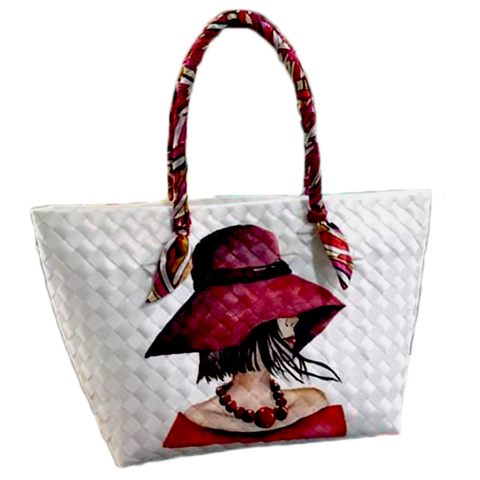 Lady in Red Handpainted Modern Bayong Women's Handbag / Tote Bag - MEDIUM SIZE