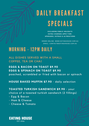 NEW Daily Take Away Breakfast Special...