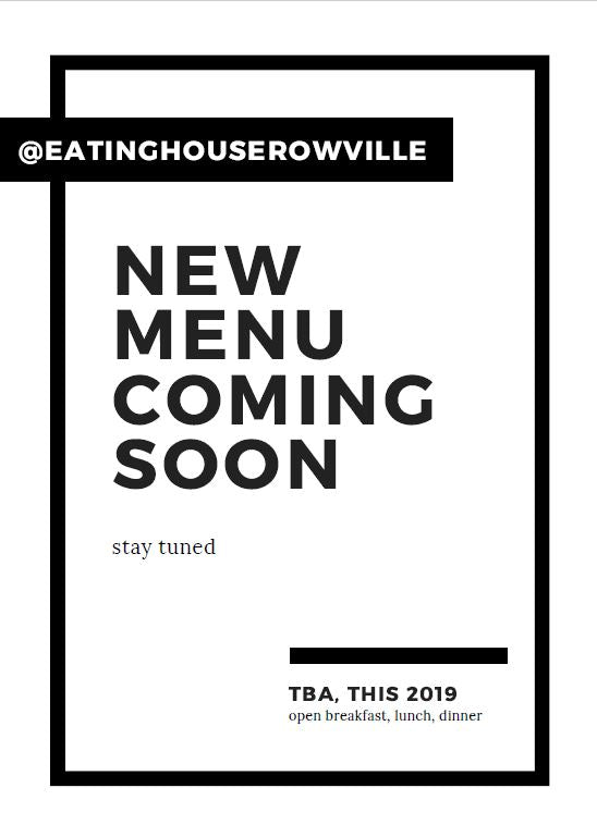 New Menu Coming Soon. Watch this space!