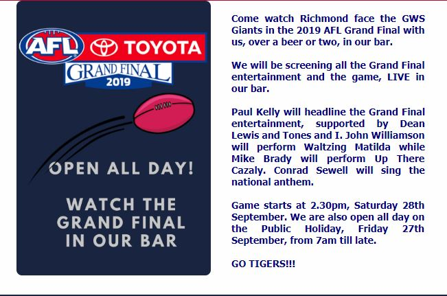 Watch the 2019 AFL Grand Live in our Bar. Saturday 28th September.