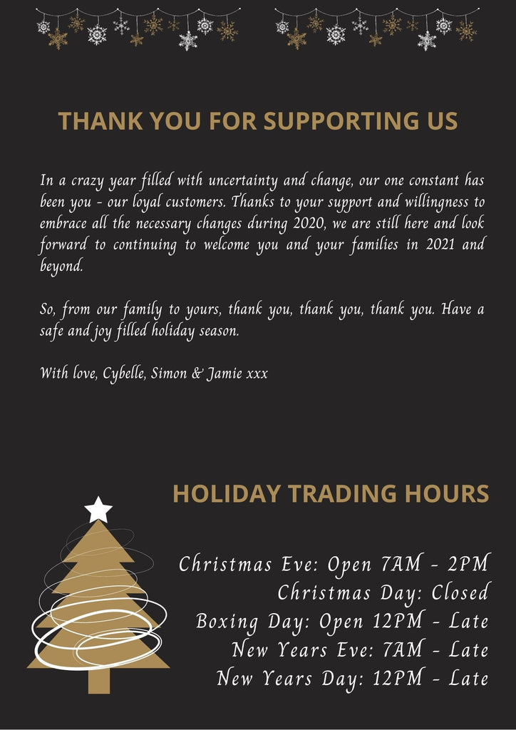 Thank you, Merry Christmas & Holiday Trading Hours