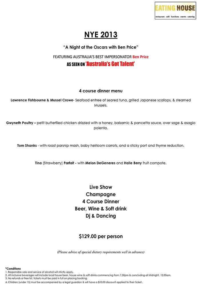 New Year's Eve A Night At The Oscars Live 2013 Eating House Rowville Events