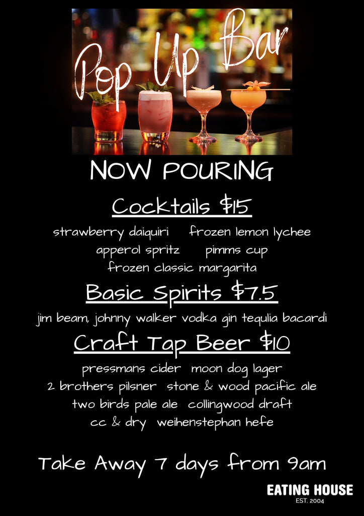 Pop Up Bar, Now Pouring..