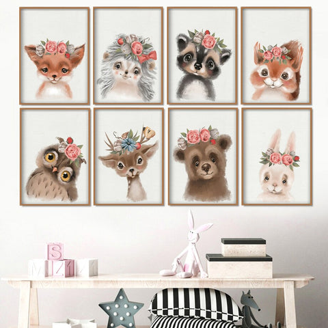 AFFICHE PORTRAIT ANIMAL FLEURI - My Poppy Shop