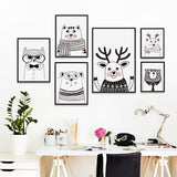 AFFICHE NORDIQUE ANIMAUX NOIR/BLANC - My Poppy Shop