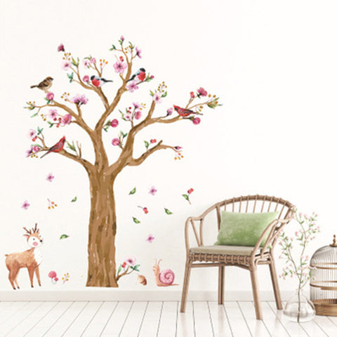 STICKER ARBRE OISEAUX BICHE - My Poppy Shop